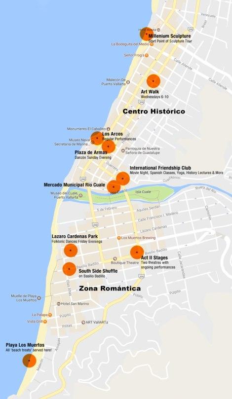 Puerto Vallarta Highlights on a Google Map