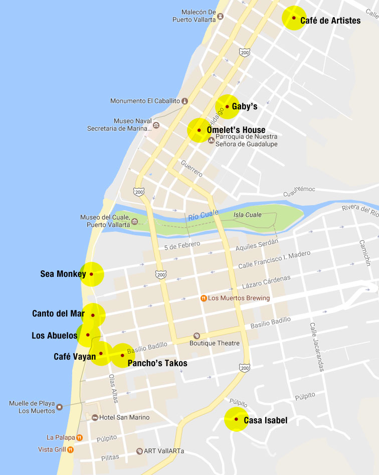 Puerto Vallarta map of restaurants