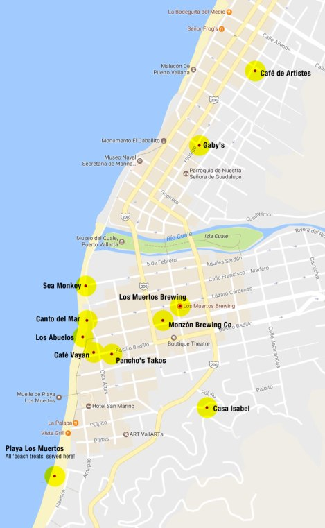 Map of the best restaurants and brewpubs in Puerto Vallarta, Mexico