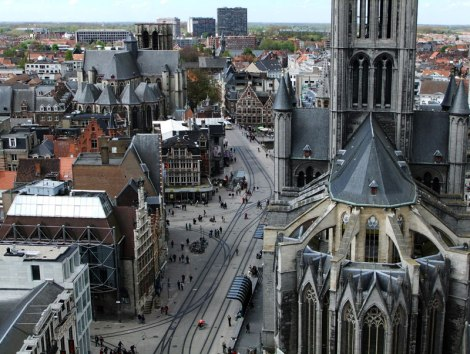 City view of Ghent from the top of the belltower.