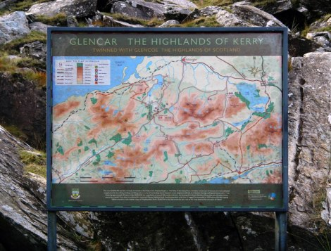 Sign showing the route through Ballighbeama Gap to Killarney, Ireland