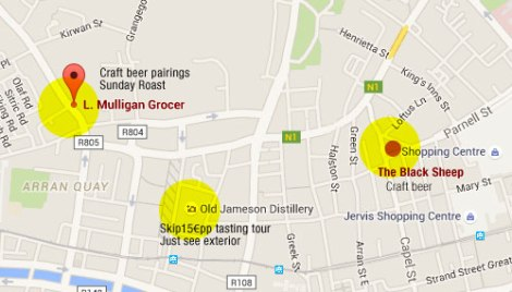 A map of the two craft beer pubs we visited on our first full day in Dublin, Ireland