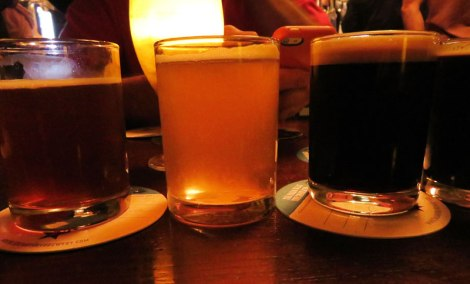 The White Hag flight at the Salt House, a craft beer pub in Galway, Ireland