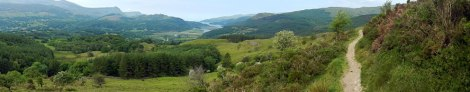 Panorama view from the path of Dolgellau's Precipice Walk in Wales