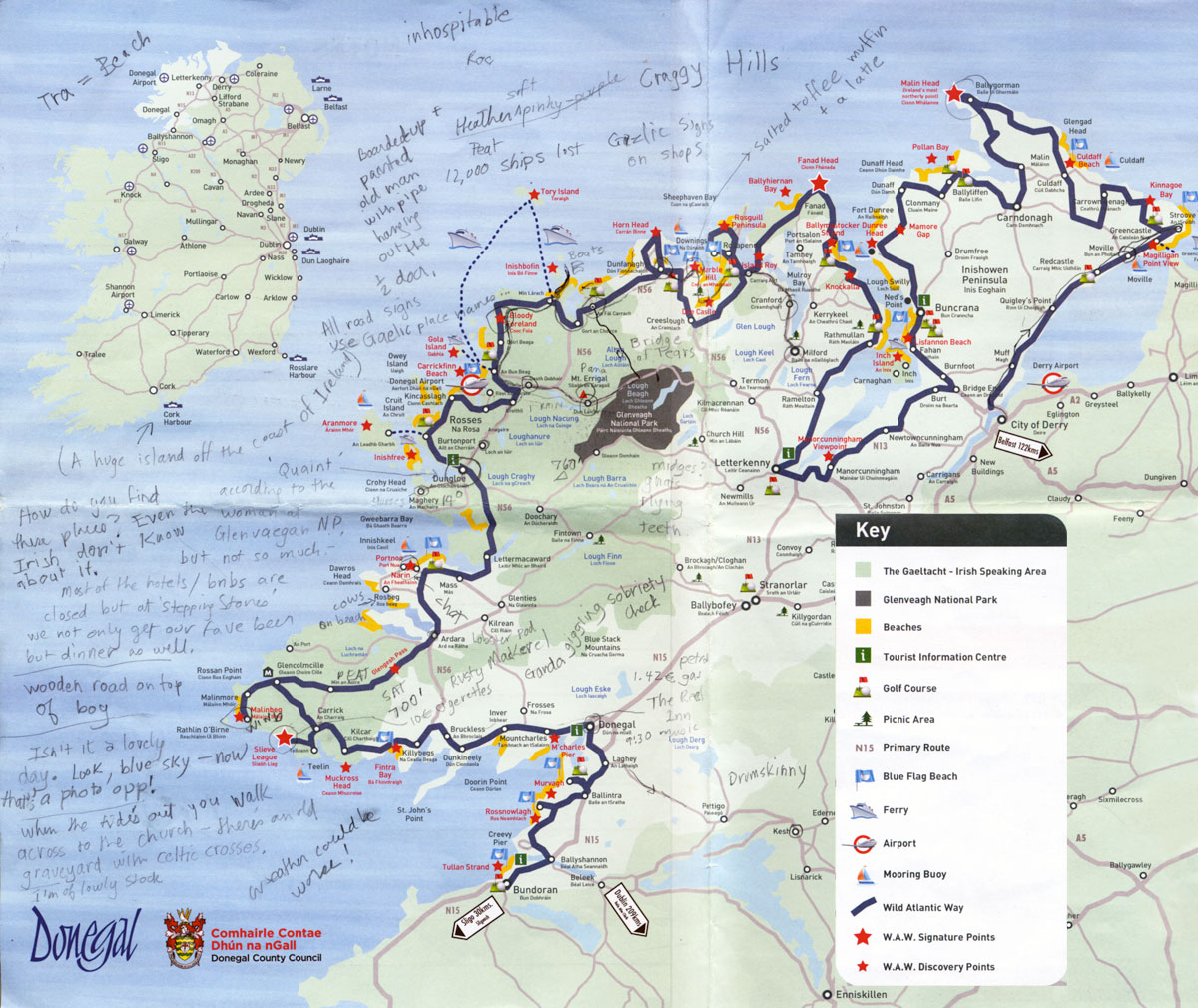 Donegal 'Wild Atlantic Way' route on a placemat