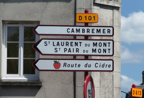 Cider Route road sign to Cambremer, France