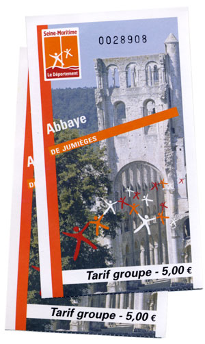 Tickets to the Jumieges Abbey ruins in France