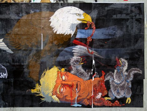 Bald Eagle feeding Trump's head to its starving chicks; a wall mural in Portland March 2017
