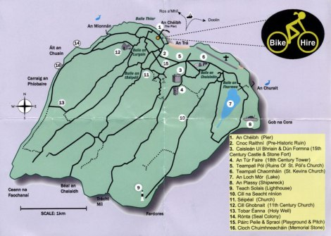 A map of the smallest Aran Island: Inis Oir (Inisheer)