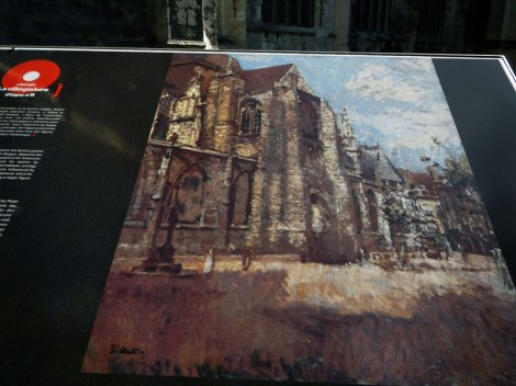 A painting of the Cathedral in Dieppe, France