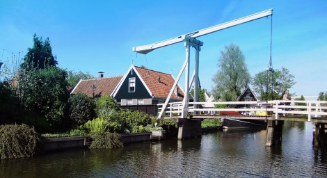 The drawbridges in Holland allow for boats to travel through. This is one in Edam