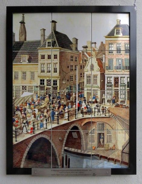 A Utrecht city scene with a bridge done in Dutch tiles