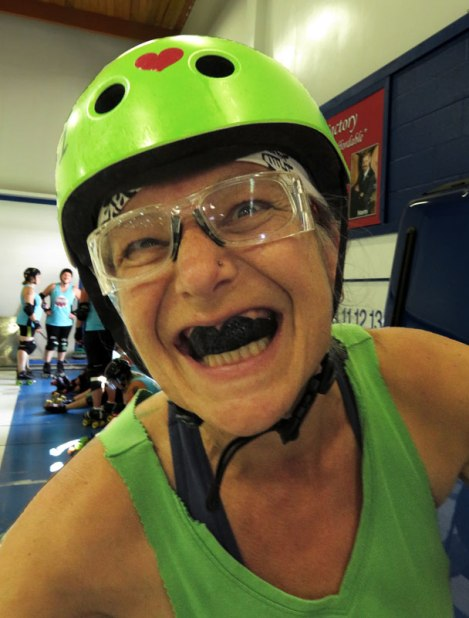Our friend gets turned into a ferocious Roller Derby Girl