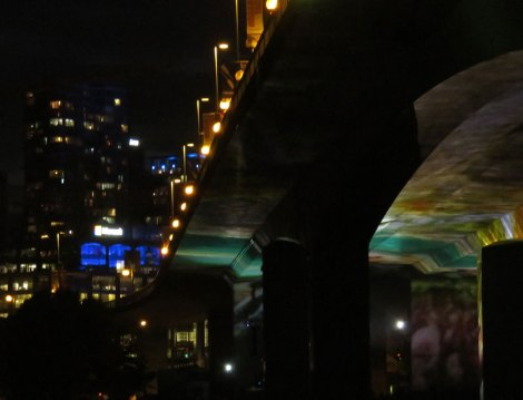 Salmon return to False Creek in cinematic public artwork projected onto concrete Cambie Bridge.
