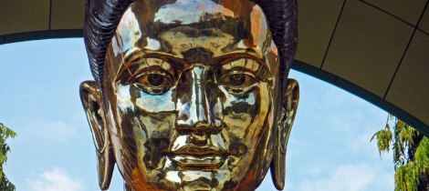 Brass Buddha in Yangon's Hair Relic Pagoda