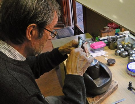 Silversmith working on Damascene jewelry in Toledo, Spain