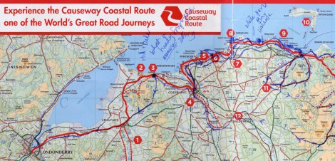 Map of leaving Ballycastle and going along the Causeway Coastal Route back into the Republic of Ireland