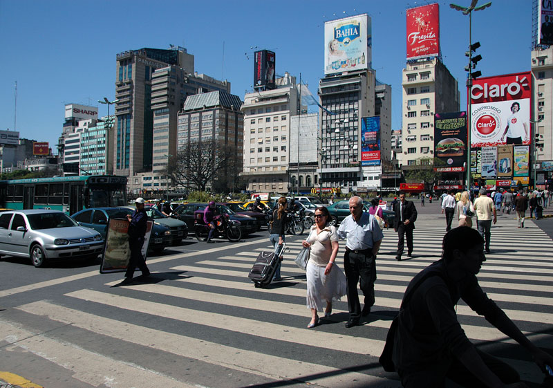Avenida 9 de Julio in Buenos Aires, the widest street in Argentina and reputed to be the widest street in the world. It takes at least two lights for the pedestrians to make it across the it.