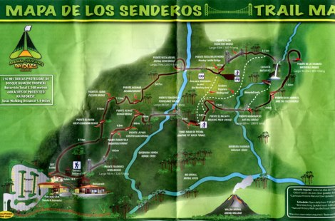 Map of Hanging Bridges in the Costa Rican jungle