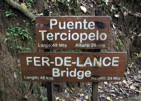 This suspension bridge was named after the venomous Fer-de-Lance snake; Sign along the jungle trail of Hanging Bridges in Costa Rica