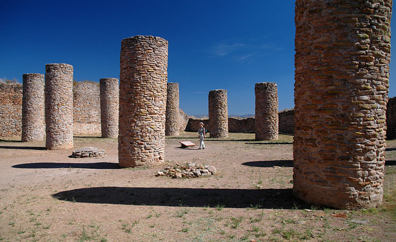 Pillars of stone at La Quemada, Meso-American ruins near Guadalajara. The roof they were supporting was probably woven of plant material which has since disappeared