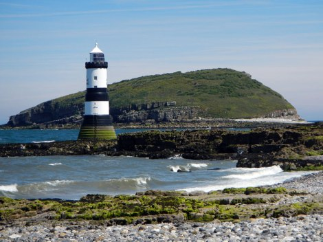The Puffin Island Lighthouse in Anglesey Peninsula in Wales