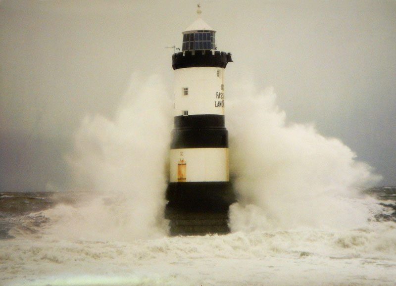 A photo of the The Puffin Island Lighthouse in Anglesey Peninsula in somewhat rougher weather than we had!