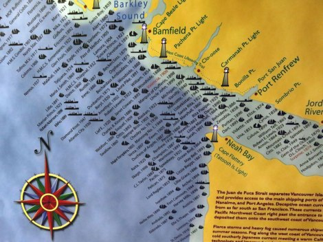 Map of shipwrecks off a relatively small part of the coast of Vancouver Island, Canada
