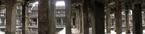 Pillars at Angkor Wat in Cambodia