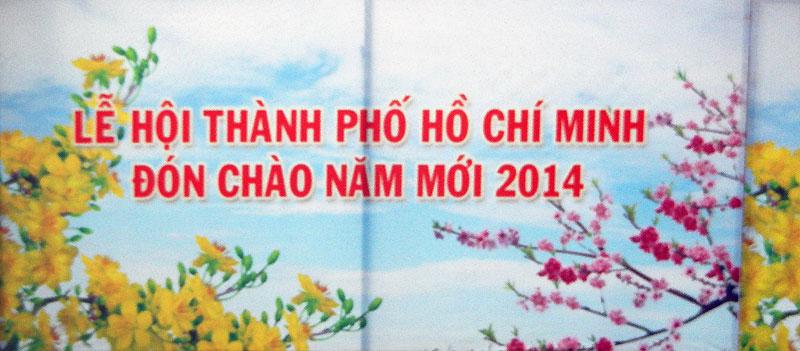 Happy New Year banner in HCMC