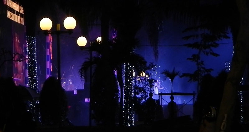 blue lights on the stage in the HCMC night, Vietnam