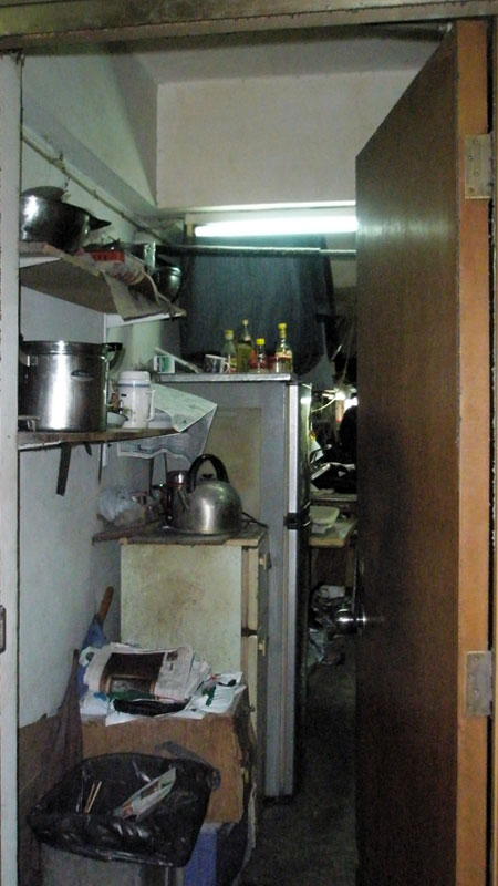 Tiny room in the Mirador Mansion in Hong Kong