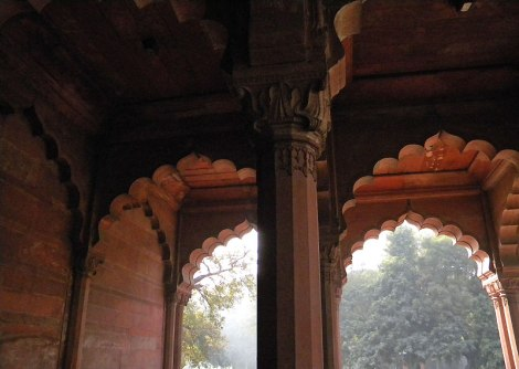 Arches at the Red Fort in Delhi, India