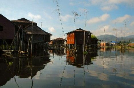 Houses on stilts on Inle Lake in Myanmar