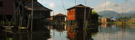 Houses on stilts on Inle Lake in Myanmar