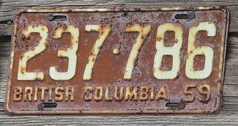 Old BC License Plate from 1959