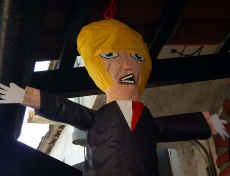 Trump pinata full of cheezies and rubber snakes