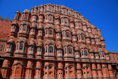 The pink Palace of the Winds in Jaipur, India