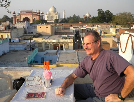 The roof of our hotel in Agra with a view of the Taj Mahal