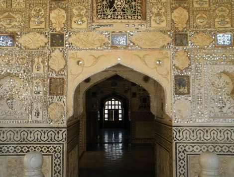 Mirrors in the decorative plaster at Amber Palace near Jaipur, India