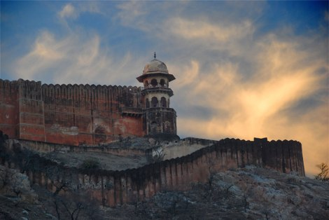 Wild sky above Amber Fort near Jaipur, India