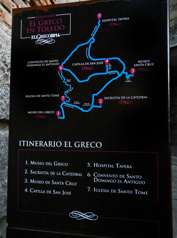 A map giving an El Greco Itinerario in Toledo, Spain