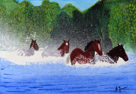 Dad's painting of horses running through a river
