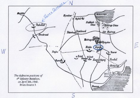 Map of Rabsted and the Sorensen Farm in World War 2
