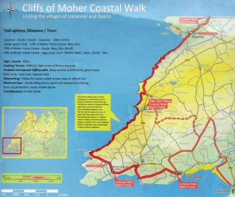 Sign showing a map the Coastal Walk linking the villages of Doolin and Liscannor on the Cliffs of Moher in Ireland