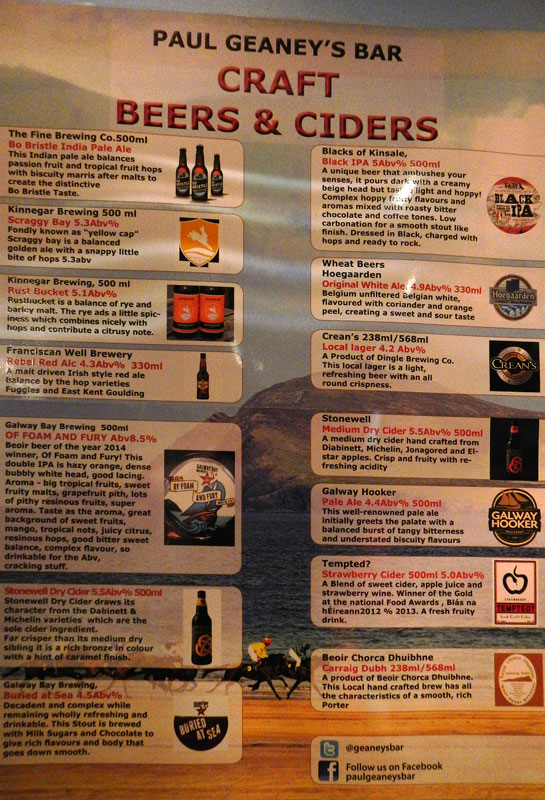 Paul Geaney's Bar with notes on the various craft beers & ciders it saves (Dingle, Ireland)