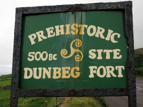 Dunbeg Fort Sign on the Dingle Peninsula, Ireland