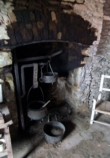 Inside the rich people's house at the Famine House Site on the Dingle Peninsula, Ireland