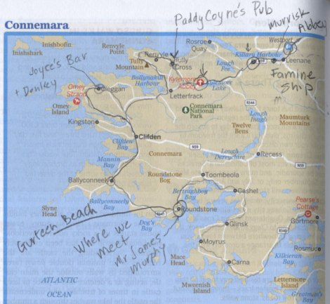 Route scribbled on my Lonely Planet map: Sep 29 to Roundstone