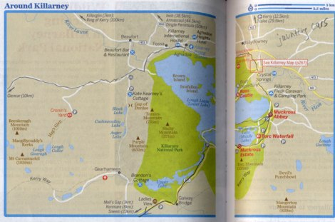 Route on Lonely Planet map through Killarney National Park in Ireland
